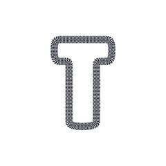 T Tire Print Track Letter Logo Icon Design