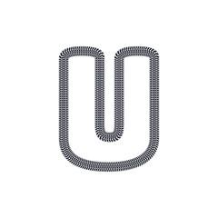 U Tire Print Track Letter Logo Icon Design