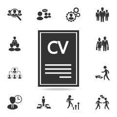 Resume vector icon. Set of Human resources, head hunting icons. Premium quality graphic design. Sign sand symbols collection, simple icons for websites, web design