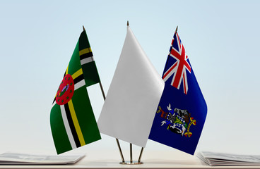 Flags of Dominica and South Georgia and Sandwich with a white flag in the middle