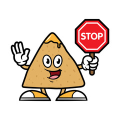 Cartoon Tortilla Chip Character Holding Stop Sign
