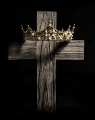 The Crown of a King on a Wooden Cross