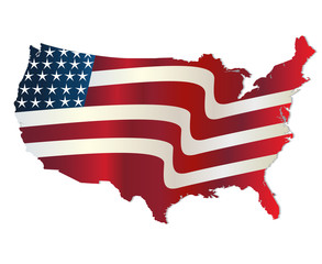 Flag map of United States of America vivid colors  vector design