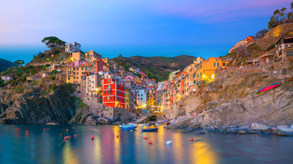 Foto auf AluDibond Ligurien Riomaggiore, the first city of the Cique Terre in Liguria, Italy