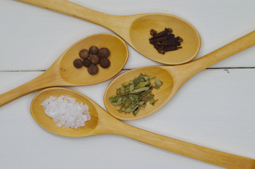 spoons arrangement with spices top view