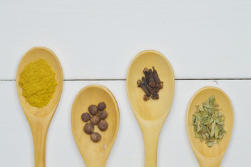 wooden spoons with spices top view