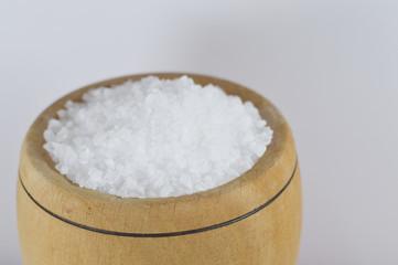 sea salt in wooden bowl
