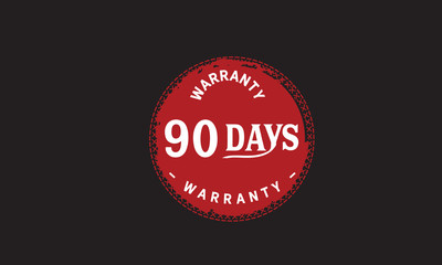 90 days warranty icon vintage rubber stamp guarantee
