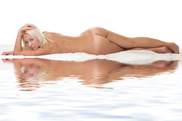nude woman on a white background