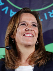 Presidential independent pre-candidate Margarita Zavala smiles during an event to thank her campaign staff for helping her to collect citizen's signatures for the electoral authority to become an independent candidate, in Mexico City