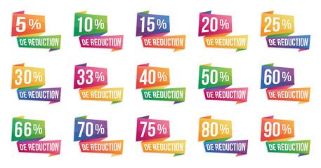 Bandeaux de réduction en pourcentage - de 5% à 90%