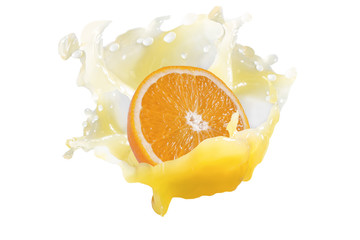 a piece of juicy orange in a splash of juice