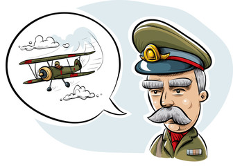 An old-fashioned styled military officer discussing air combat with a speech bubble showing a biplane.