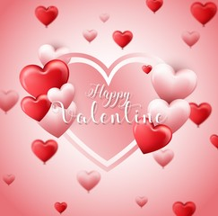 Valentines day background with red and pink hearts