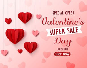 Valentines day sale background with red folded paper heart shape balloon on pink backdrop