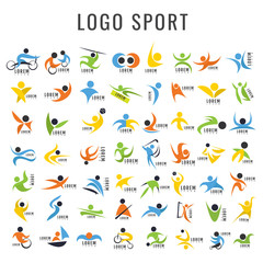 Logo sport Design Collection. Freeform. Normal people's sport. Disabled people. symbol. Abstract. vector illustration. on white background