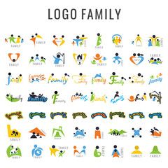 Logo Family Design Collection. Freeform. symbol. Abstract. vector illustration. on white background