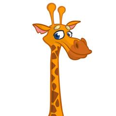 Cartoon funny giraffe head. Vector illustration