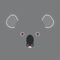 australian funny koala bear face on gray background. Vector