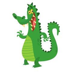 Funny cartoon crocodile alligator. Vector illustration. Design for print, mascot or children book illustration