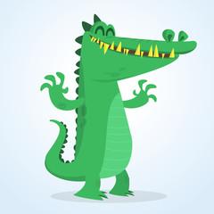 Cute cartoon crocodile. Vector  illustration of a green crocodile waving ahands. Isolated on white
