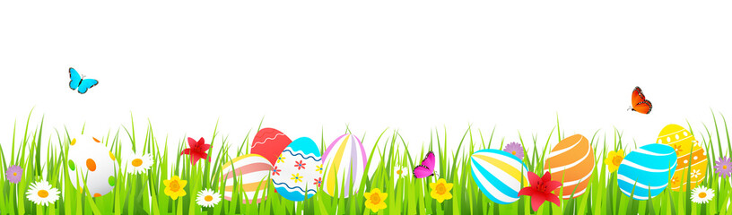 Easter banner vector illustration, Colorful Easter eggs on green grass with flowers and butterfly isolated on white background.