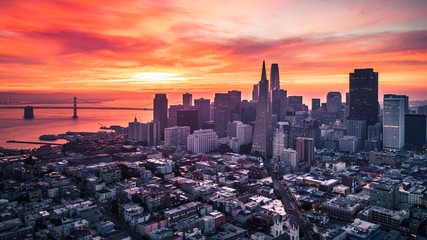 Poster de jardin San Francisco San Francisco Skyline at Sunrise