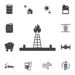 Oil derrick icon. Set of energy icons. Premium quality graphic design icons. Signs and symbols collection icons for websites, web design, mobile app