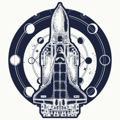 Space shuttle taking off on mission t-shirt design. Space shuttle tattoo art. Symbol of space research, the flight to new galaxies