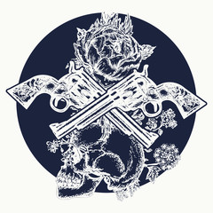 Human skull and revolvers t-shirt design. Skull, crossed guns, rose, tattoo art. Symbol of the wild west, robber, crime