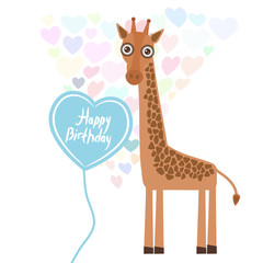Happy birthday Card design cute kawaii giraffe with balloon in the shape of heart, pastel colors on white background. Vector