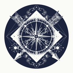 Rose compass t-shirt design. Tattoo for travelers, climbers, hikers. Compass and crossed arrows tattoo art. Symbol of tourism, adventure, travel