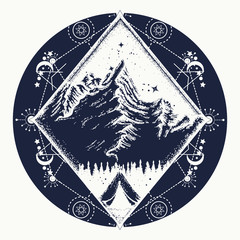 Camping tattoo and t-shirt design. Tent in the mountains t-shirt design. Symbol of tourism, travel, adventures, meditation, climbing, camping, great outdoors