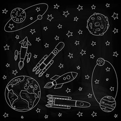 Space ships fly away from the Earth to other planets. Planets and satellites, rockets flying into space. Drawing chalk on a blackboard. Vector illustration on a black background.