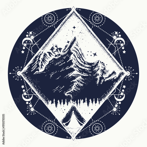 Camping Tattoo And T Shirt Design Tent In The Mountains T Shirt