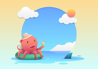 Cute red octopus holding a cocktail summer drink glass on the green inflatable swim ring on the beach and summer background, summer holiday concept. Vector illustration