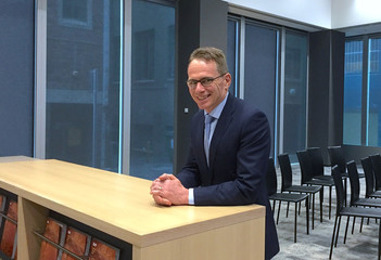 BHP Billiton's chief executive officer Andrew Mackenzie poses at the company's offices in Melbourne