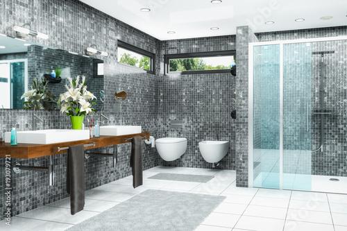 Modernes Badezimmer in weiß und schwarz mit Dusche, Badewanne, WC ...