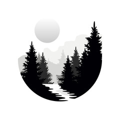 Foto auf Leinwand Weiß Beautiful nature landscape with silhouettes of forest coniferous trees, mountains and sun, natural scene icon in geometric round shaped design, vector illustration in black and white colors