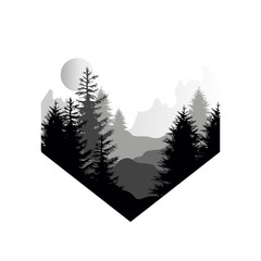 Beautiful nature landscape with silhouette of coniferous forest, mountains and sun, natural scene icon in geometric shape design, vector illustration in black and white colors