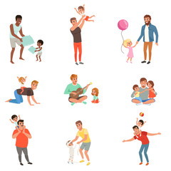 Fathers playing, having fun together and enjoying good quality time with their little children set of vector Illustrations on a white background