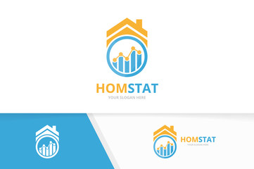 Vector graph and real estate logo combination. Diagram and house symbol or icon. Unique chart and rent logotype design template.
