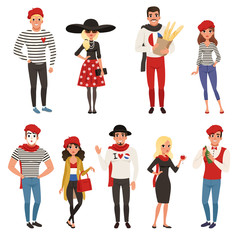 French male and female characters, people dressed in traditional Parisian style vector Illustrations
