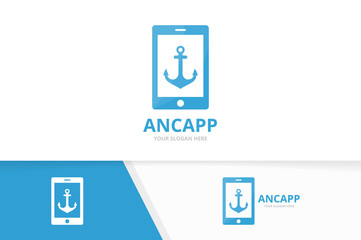 Vector anchor and phone logo combination. Marine and mobile symbol or icon. Unique navy and device logotype design template.
