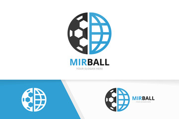 Vector soccer and planet logo combination. Ball and world symbol or icon. Unique football and globe logotype design template.