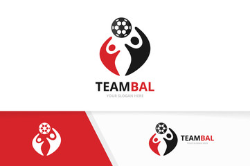 Vector soccer and people logo combination. Ball and family symbol or icon. Unique football and union, help, connect, team logotype design template.