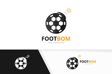 Vector soccer and bomb logo combination. Ball and detonate symbol or icon. Unique football and weapon logotype design template.
