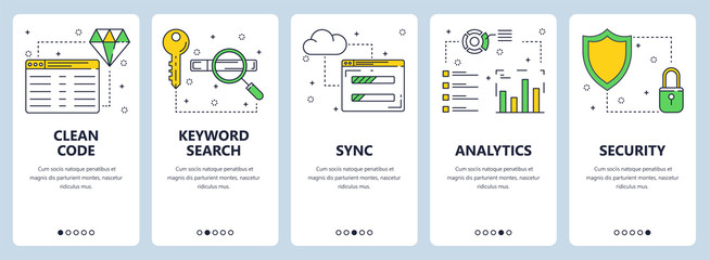 Vector modern thin line clean code concept web banner set
