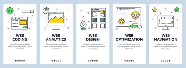 Vector modern thin line web coding concept banner set
