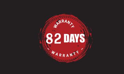 82 days warranty icon vintage rubber stamp guarantee